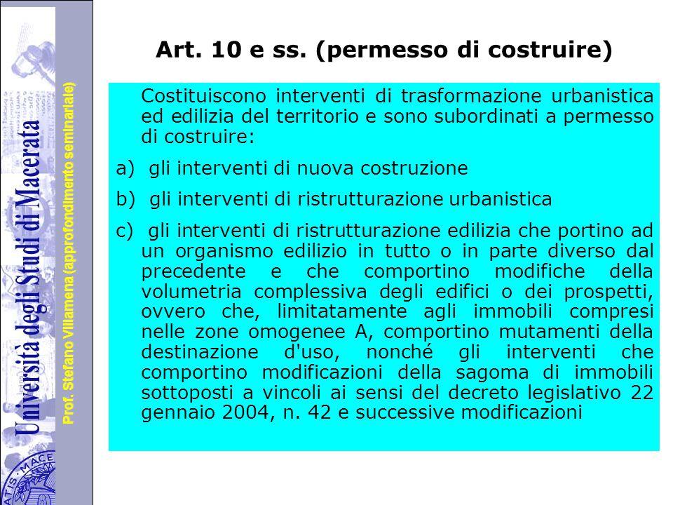 Art. 10 e ss. (permesso di costruire)