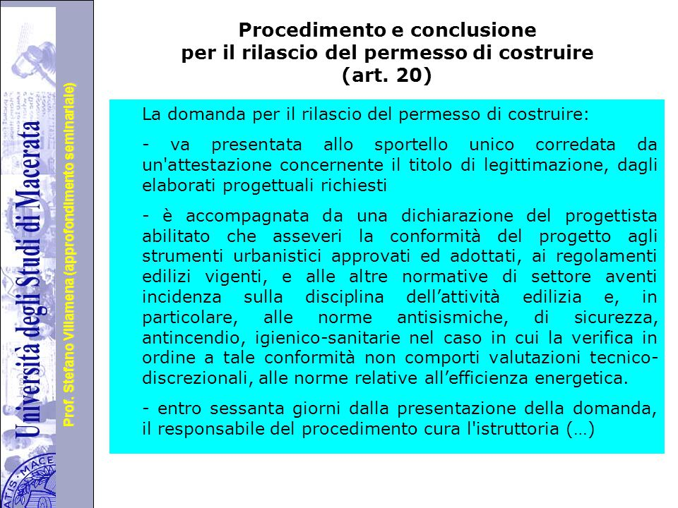 Procedimento e conclusione per il rilascio del permesso di costruire (art. 20)