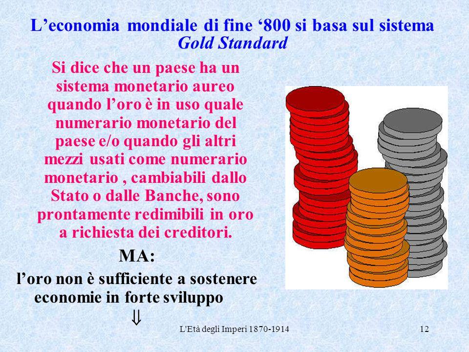 L'economia mondiale di fine '800 si basa sul sistema Gold Standard