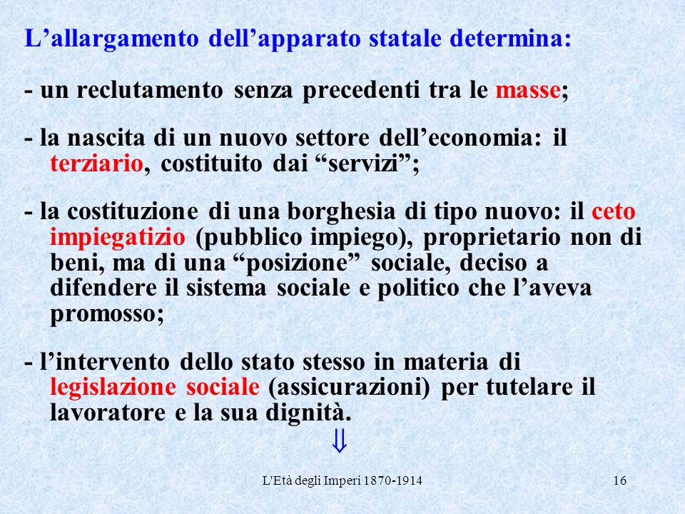 L'allargamento dell'apparato statale determina: