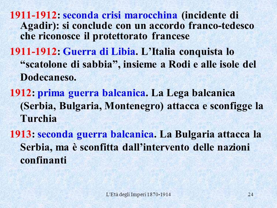 1911-1912: seconda crisi marocchina (incidente di Agadir): si conclude con un accordo franco-tedesco che riconosce il protettorato francese