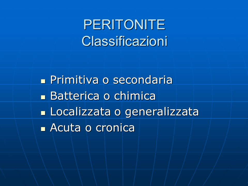 PERITONITE Classificazioni
