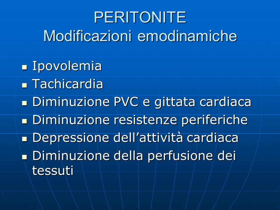 PERITONITE Modificazioni emodinamiche