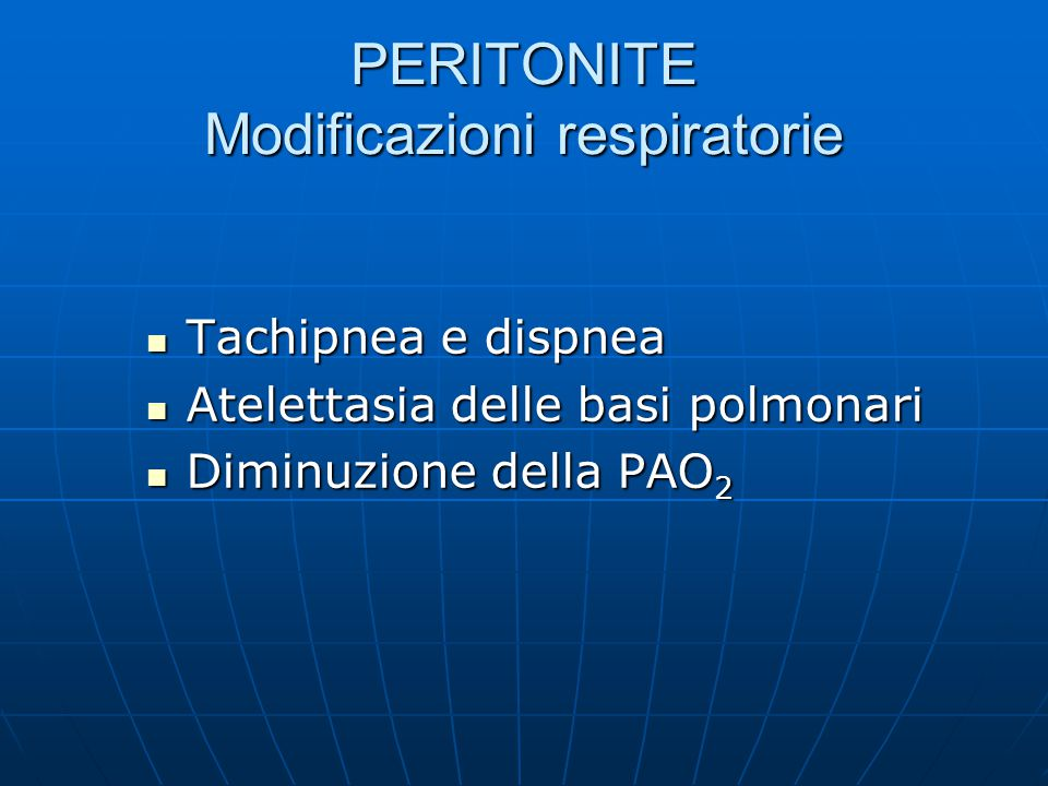 PERITONITE Modificazioni respiratorie