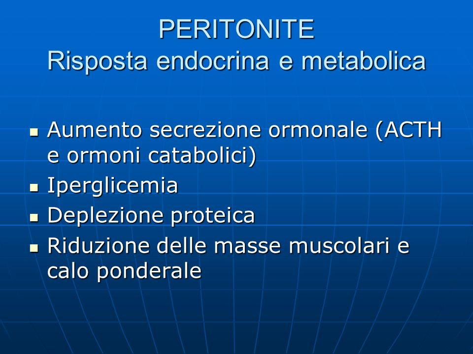 PERITONITE Risposta endocrina e metabolica