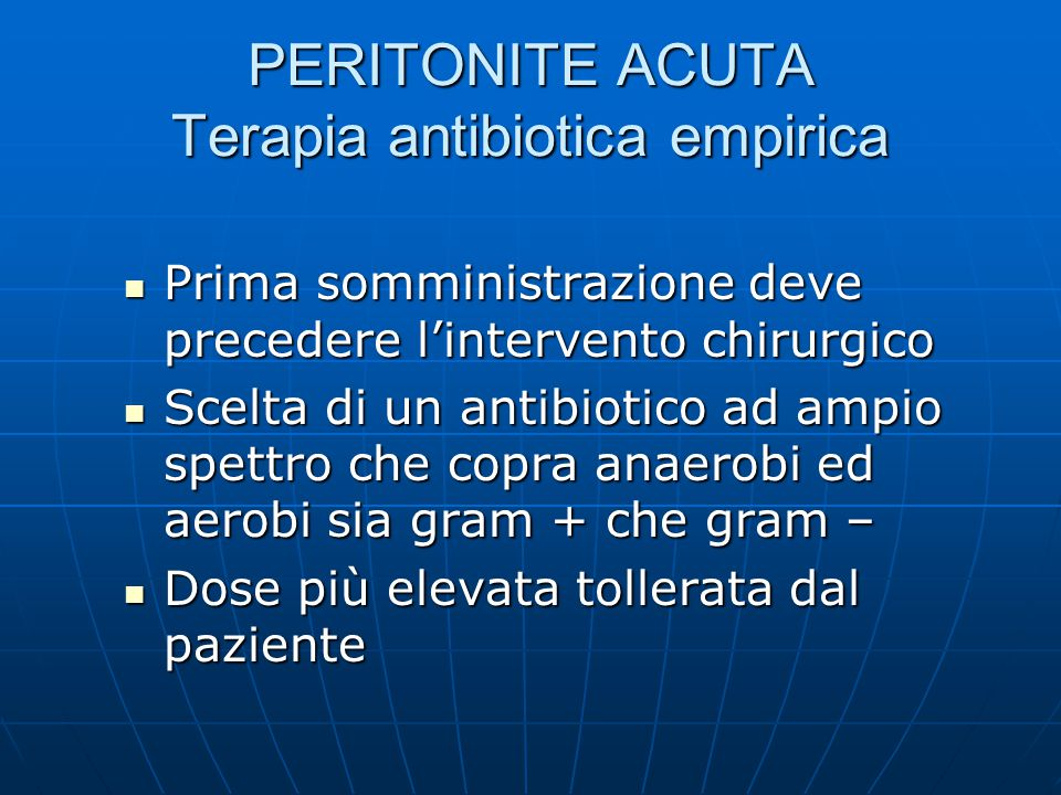 PERITONITE ACUTA Terapia antibiotica empirica