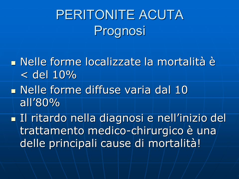 PERITONITE ACUTA Prognosi