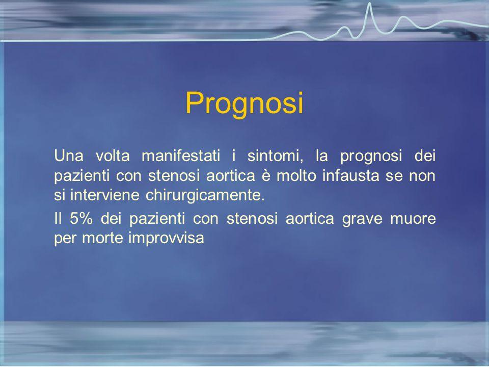 Prognosi Una volta manifestati i sintomi, la prognosi dei pazienti con stenosi aortica è molto infausta se non si interviene chirurgicamente.