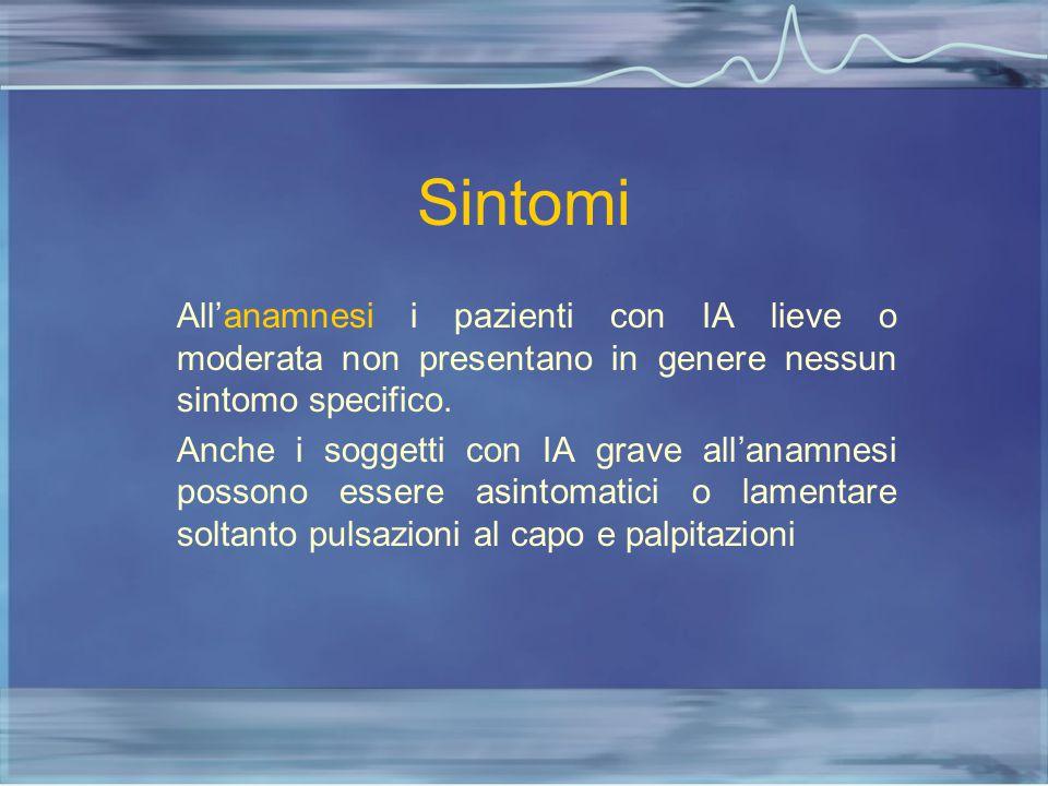 Sintomi All'anamnesi i pazienti con IA lieve o moderata non presentano in genere nessun sintomo specifico.