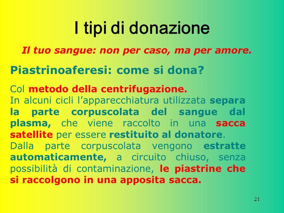 I tipi di donazione Piastrinoaferesi: come si dona