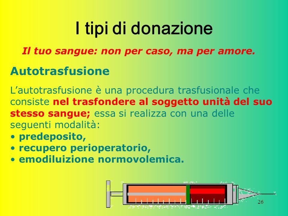 I tipi di donazione Autotrasfusione