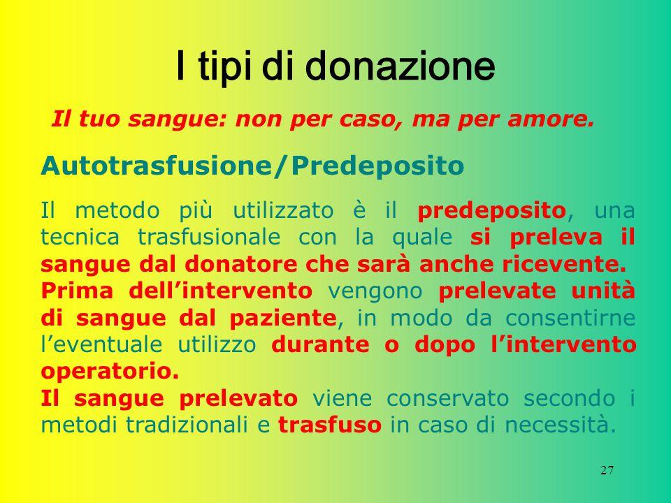 I tipi di donazione Autotrasfusione/Predeposito