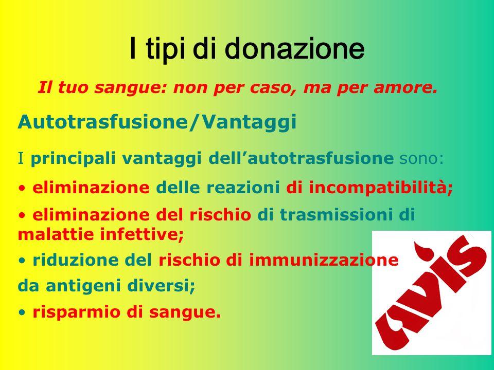 I tipi di donazione Autotrasfusione/Vantaggi