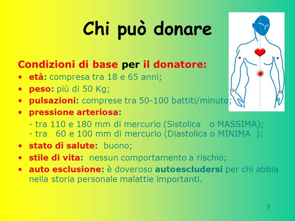 Chi può donare Condizioni di base per il donatore: