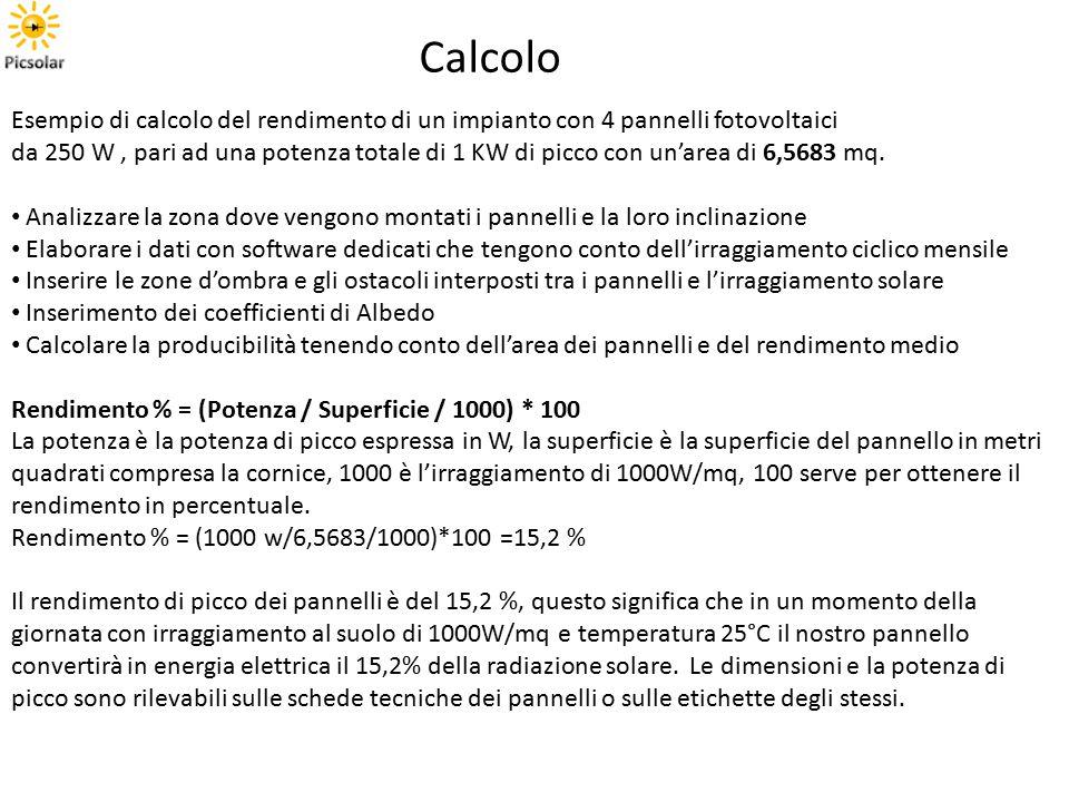 Calcolo Esempio di calcolo del rendimento di un impianto con 4 pannelli fotovoltaici.