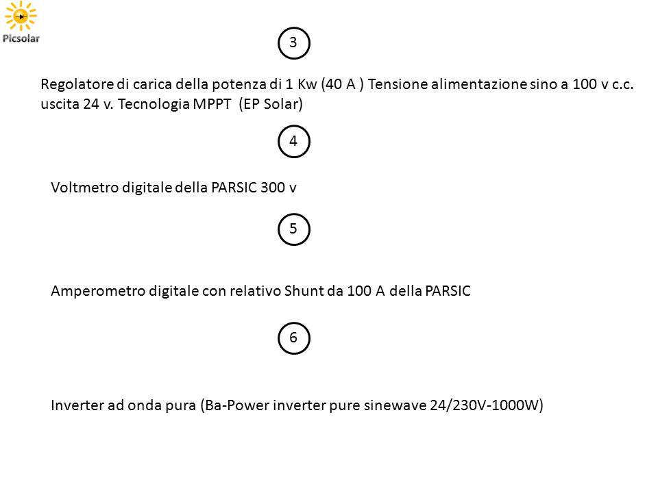 3 Regolatore di carica della potenza di 1 Kw (40 A ) Tensione alimentazione sino a 100 v c.c. uscita 24 v. Tecnologia MPPT (EP Solar)