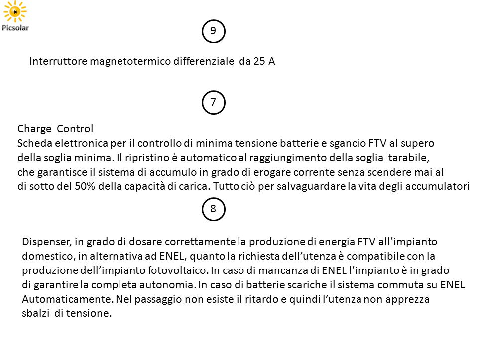 9 Interruttore magnetotermico differenziale da 25 A. 7. Charge Control.