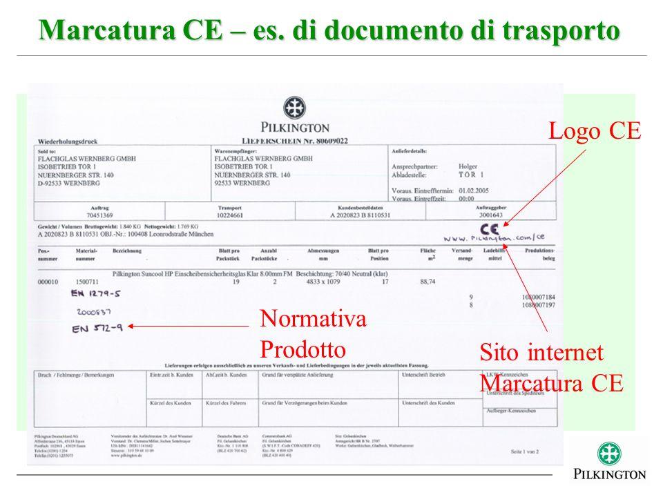Marcatura CE – es. di documento di trasporto