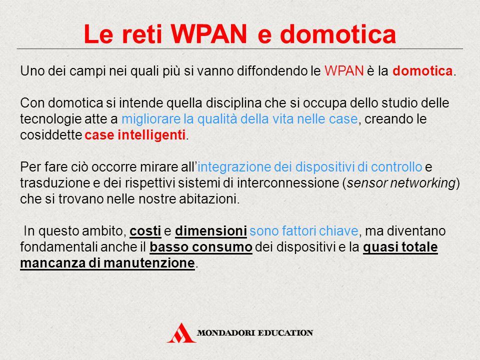 Le reti WPAN e domotica Uno dei campi nei quali più si vanno diffondendo le WPAN è la domotica.