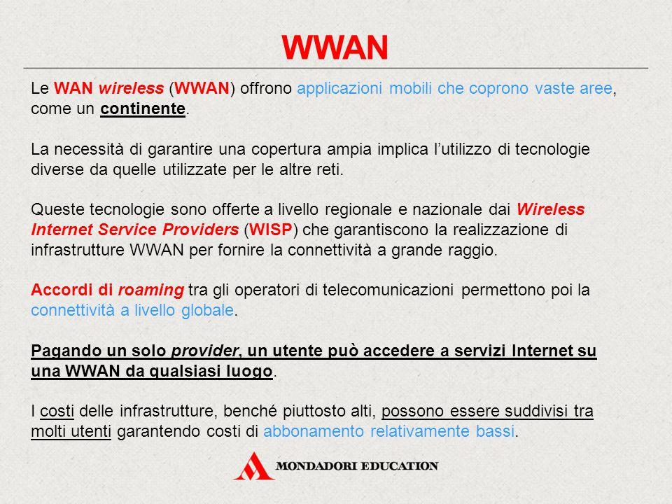 WWAN Le WAN wireless (WWAN) offrono applicazioni mobili che coprono vaste aree, come un continente.