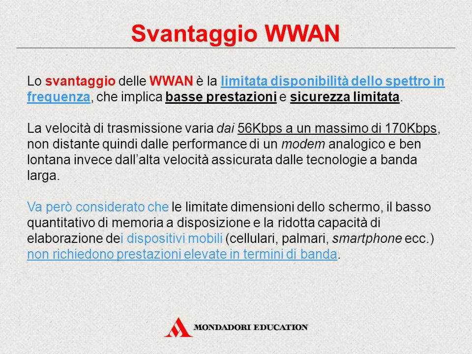 Svantaggio WWAN Lo svantaggio delle WWAN è la limitata disponibilità dello spettro in frequenza, che implica basse prestazioni e sicurezza limitata.