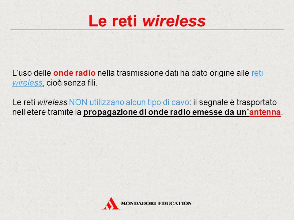 Le reti wireless L'uso delle onde radio nella trasmissione dati ha dato origine alle reti wireless, cioè senza fili.