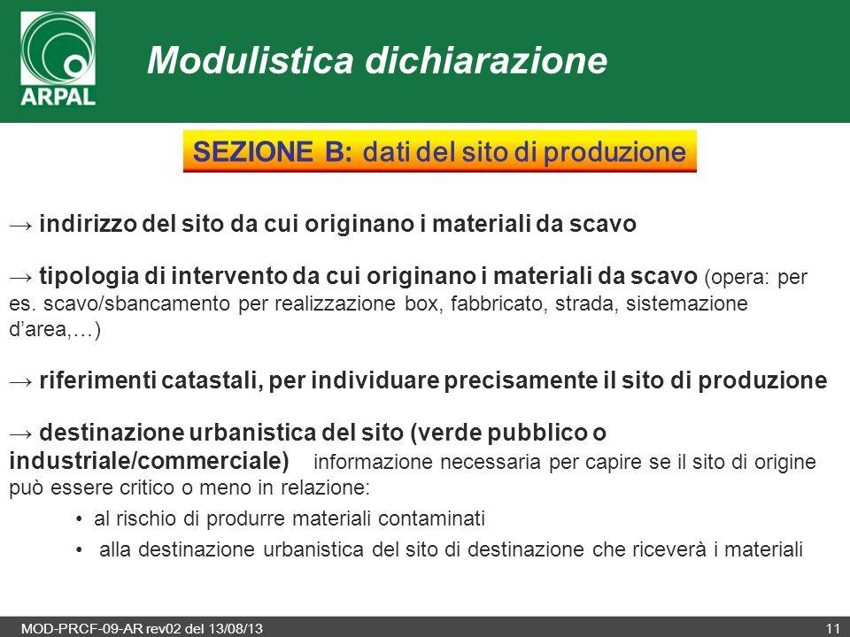 SEZIONE B: dati del sito di produzione