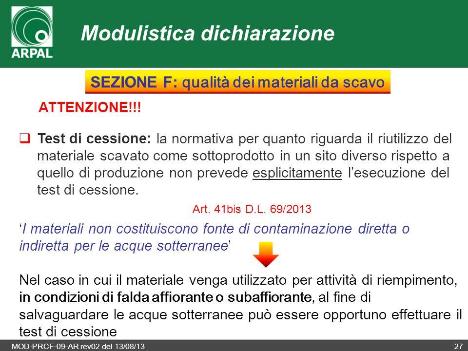 SEZIONE F: qualità dei materiali da scavo