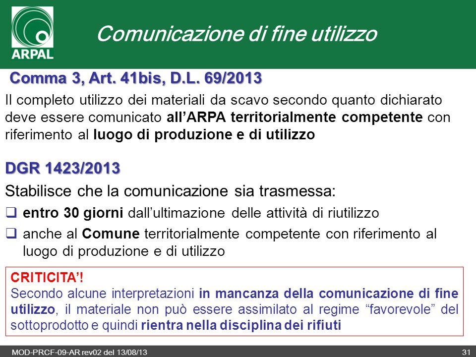 Comunicazione di fine utilizzo