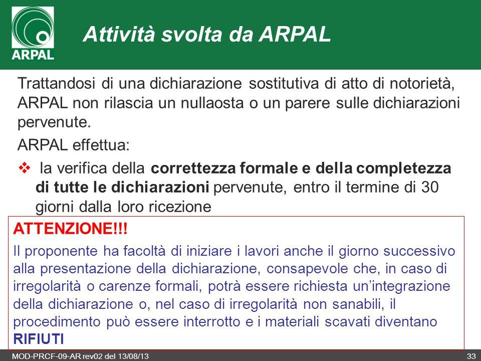 Attività svolta da ARPAL