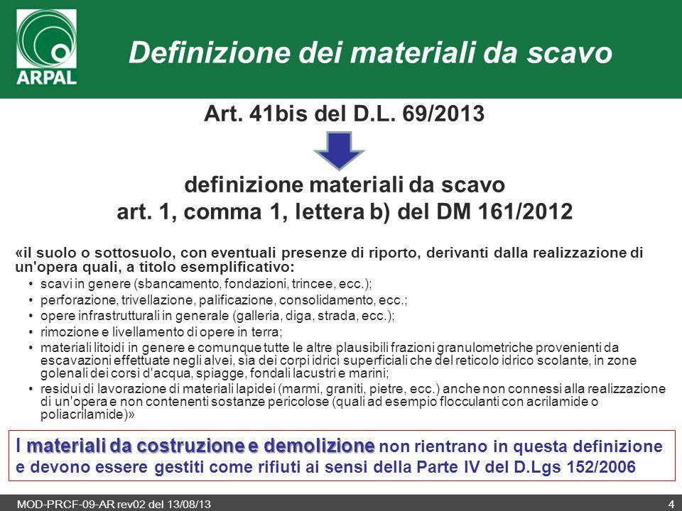 Definizione dei materiali da scavo
