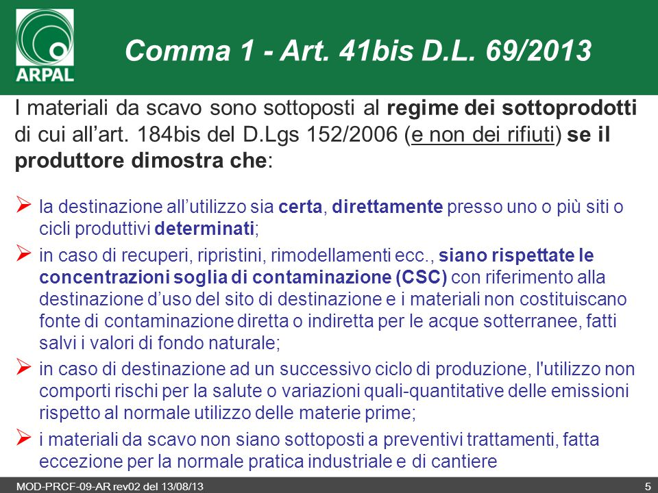 Comma 1 - Art. 41bis D.L. 69/2013