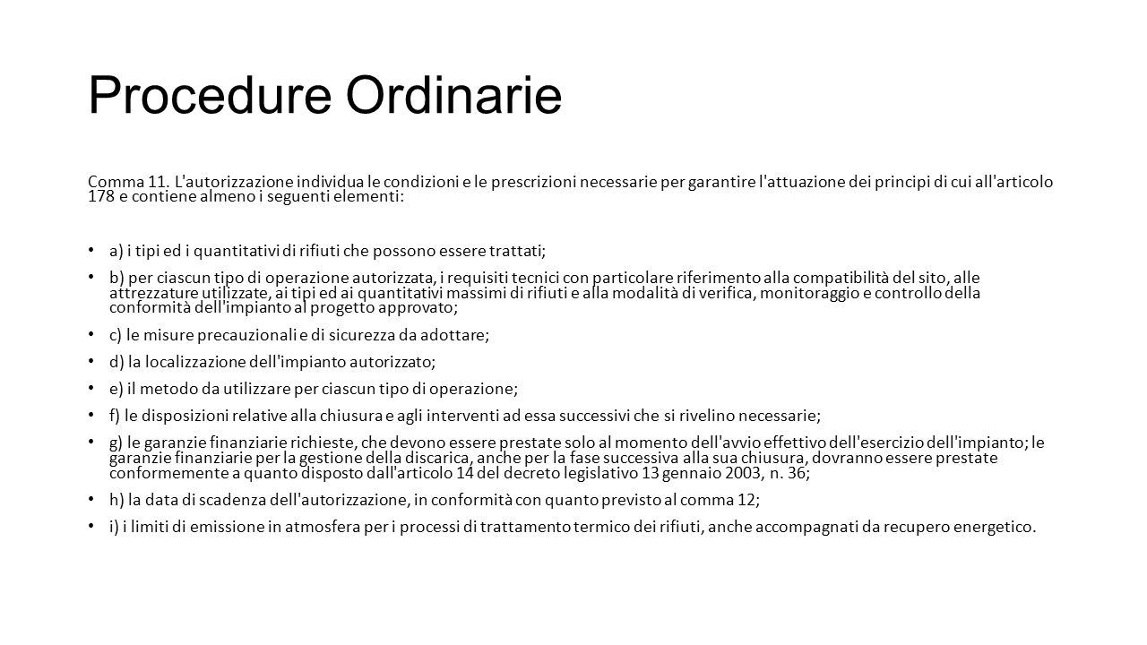 Procedure Ordinarie