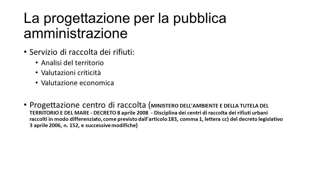 La progettazione per la pubblica amministrazione