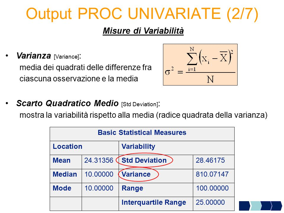 Output PROC UNIVARIATE (2/7)