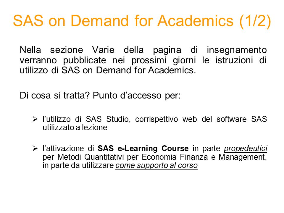 SAS on Demand for Academics (1/2)