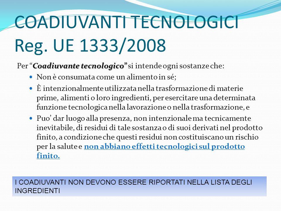 COADIUVANTI TECNOLOGICI Reg. UE 1333/2008