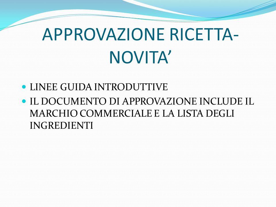APPROVAZIONE RICETTA- NOVITA'