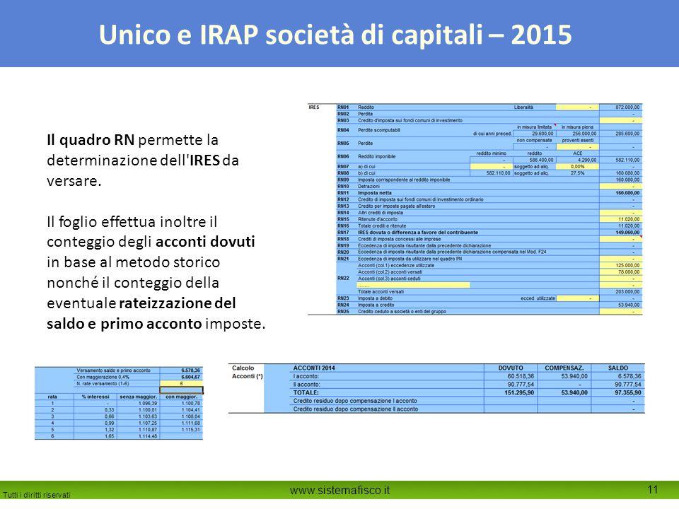 Il quadro RN permette la determinazione dell IRES da versare.