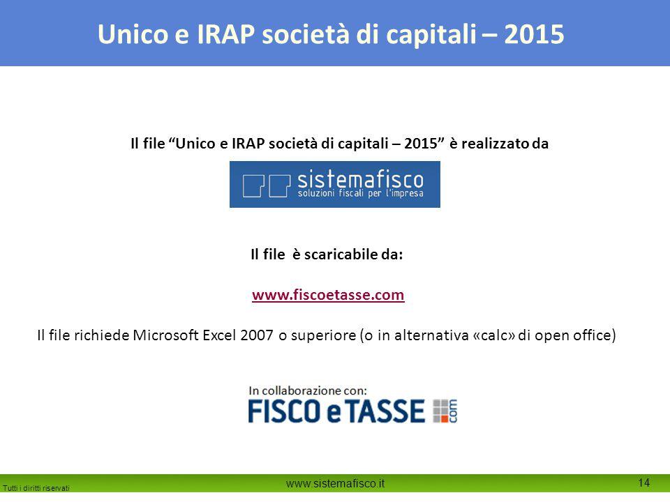 Il file Unico e IRAP società di capitali – 2015 è realizzato da