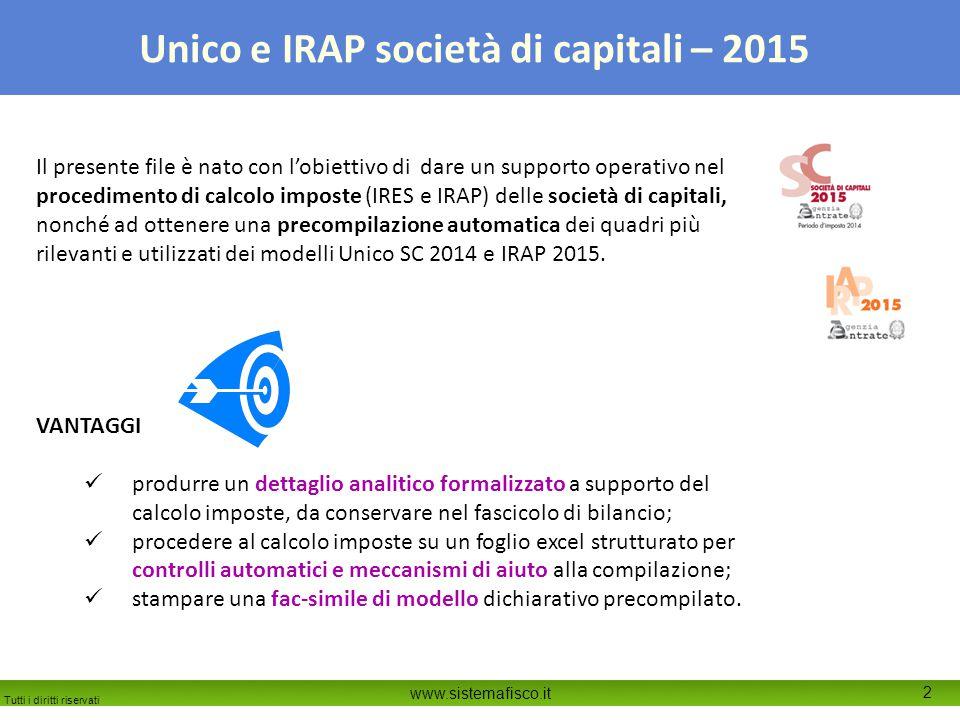 Il presente file è nato con l'obiettivo di dare un supporto operativo nel procedimento di calcolo imposte (IRES e IRAP) delle società di capitali, nonché ad ottenere una precompilazione automatica dei quadri più rilevanti e utilizzati dei modelli Unico SC 2014 e IRAP 2015.