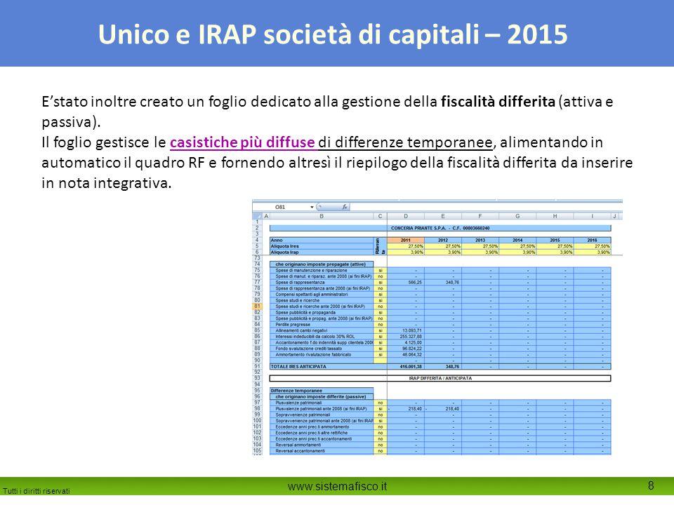 E'stato inoltre creato un foglio dedicato alla gestione della fiscalità differita (attiva e passiva).