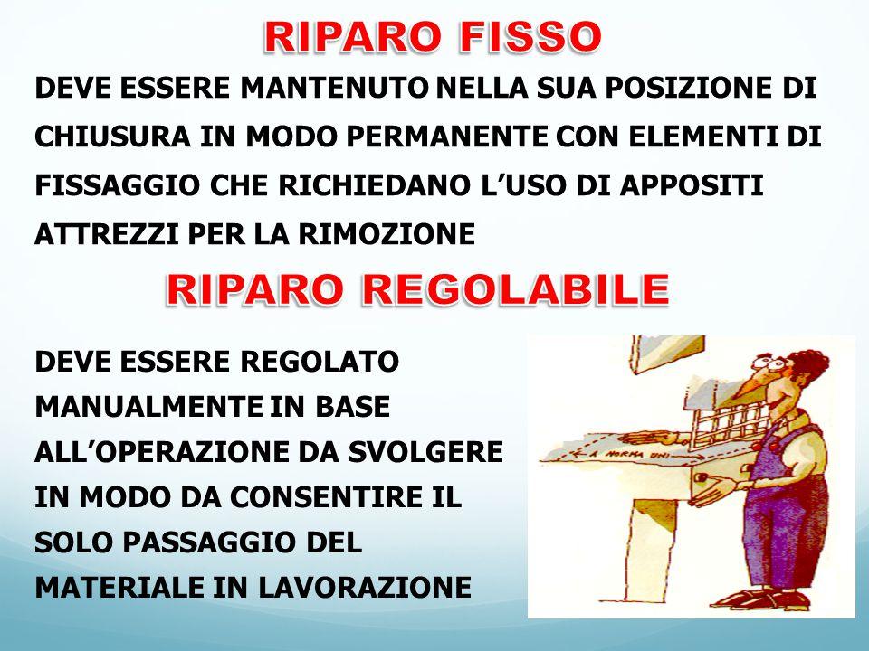 RIPARO FISSO RIPARO REGOLABILE