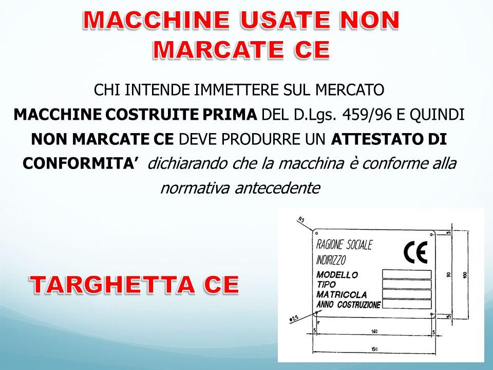MACCHINE USATE NON MARCATE CE