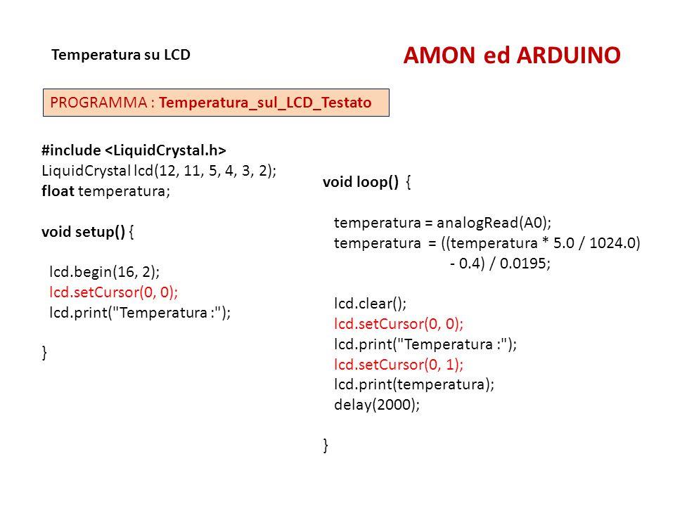 AMON ed ARDUINO Temperatura su LCD