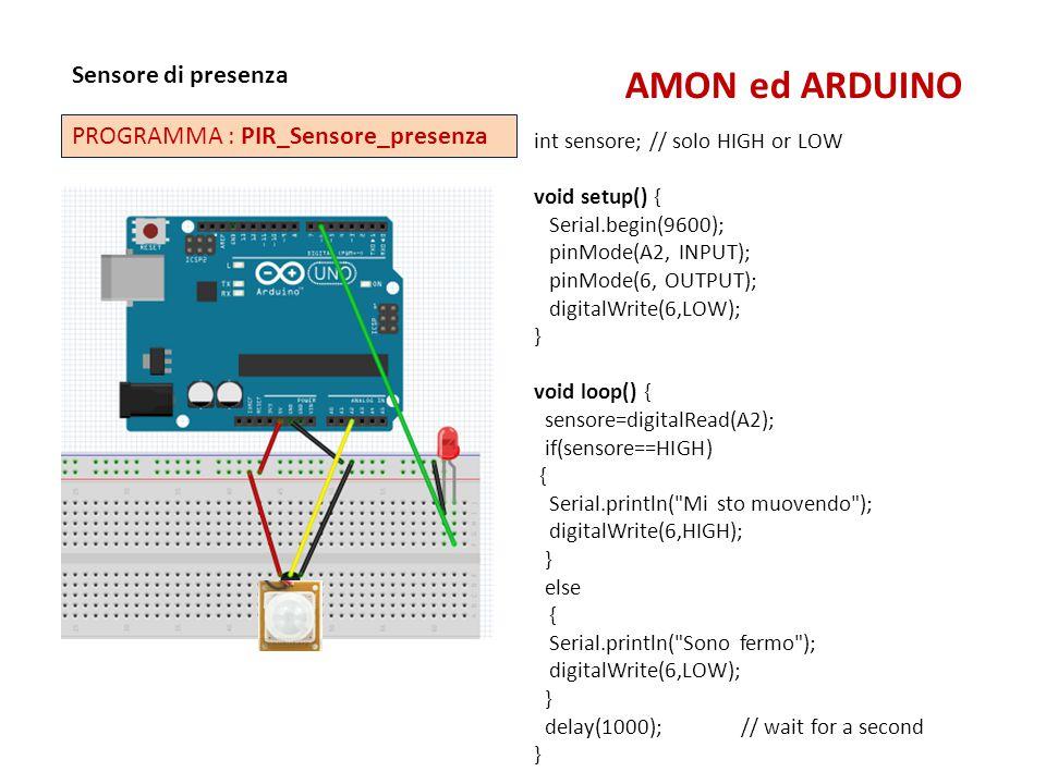 AMON ed ARDUINO Sensore di presenza PROGRAMMA : PIR_Sensore_presenza