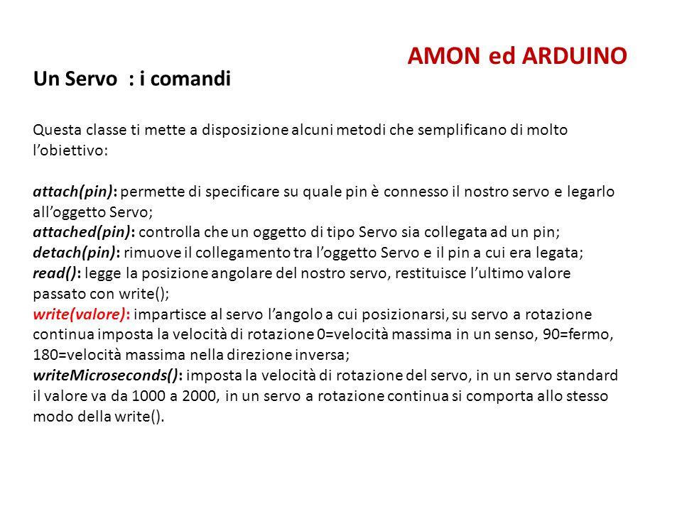 AMON ed ARDUINO Un Servo : i comandi