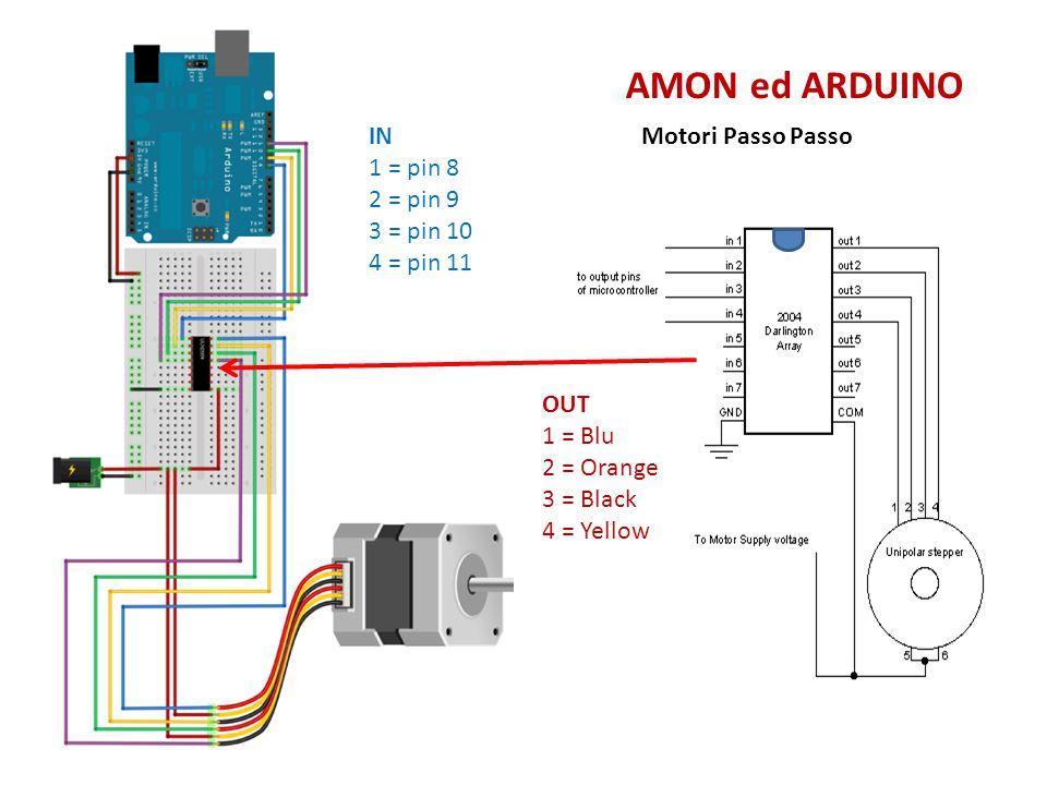 AMON ed ARDUINO IN 1 = pin 8 2 = pin 9 3 = pin 10 4 = pin 11