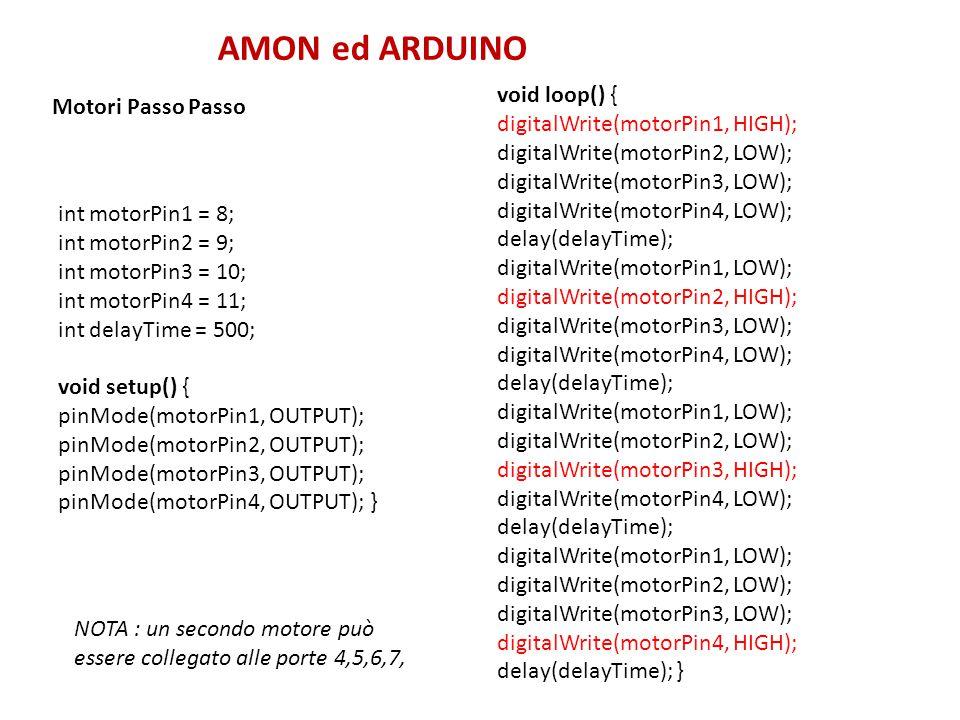 AMON ed ARDUINO void loop() { Motori Passo Passo