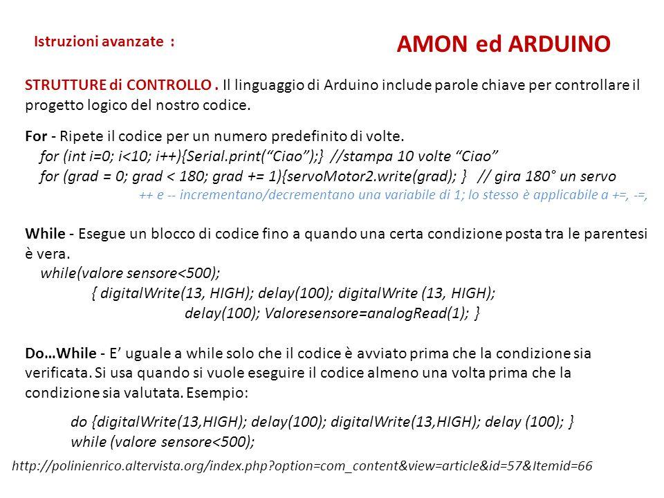 AMON ed ARDUINO Istruzioni avanzate :